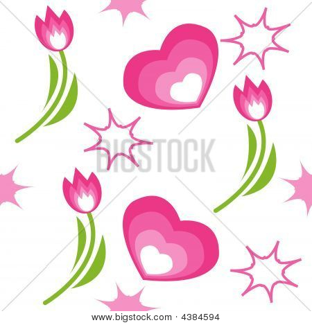 Seamless Pattern With Tulips Hearts And Stars