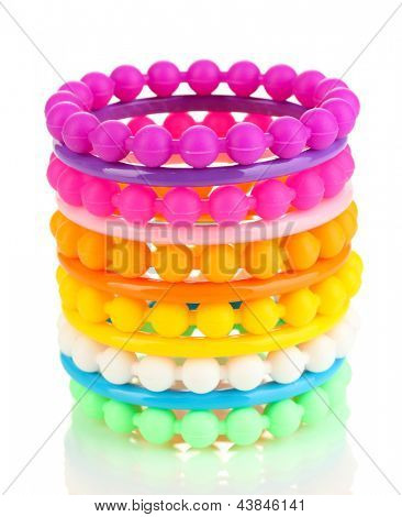 Colorful fashion bracelets isolated on white