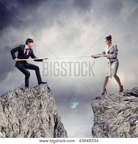 People pull the rope.