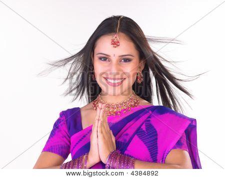 Woman In Pink Sari