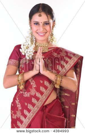 Indian Woman In Silk Sari