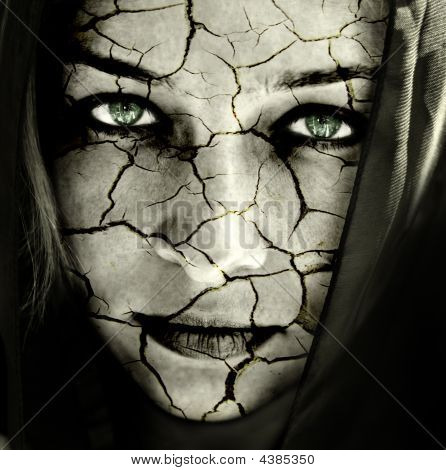 Face Of Woman With Cracked Skin
