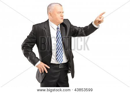 Angry mature man gesturing with finger isolated on white background