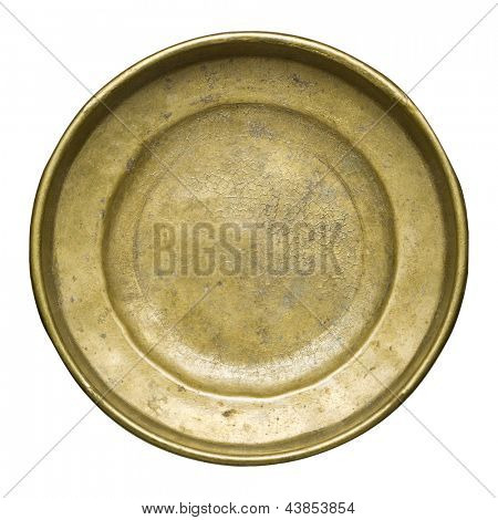Round brass plate texture, old metal background.