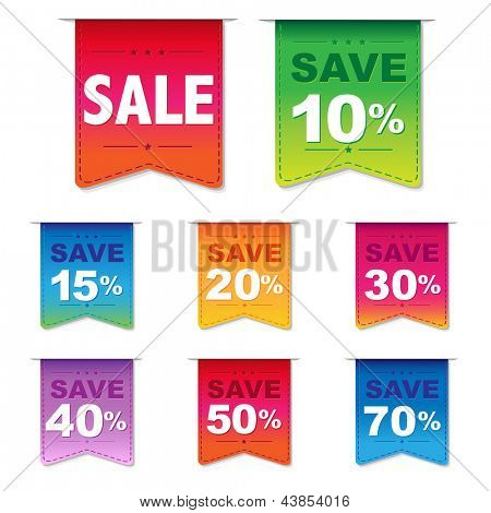 Discount Labels, Isolated On White Background, Vector Illustration