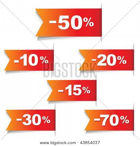 Color Discount Labels, Isolated On White Background, Vector Illustration