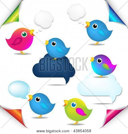Color Birds Set With Corners And Speech Bubble With Gradient Mesh, Isolated On White Background, Vector Illustration