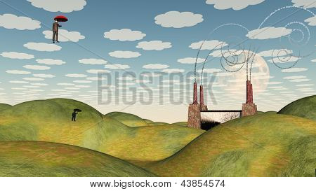 Surreal Factory with Floating Figure