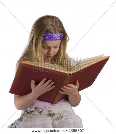 Girl Reading Old Book