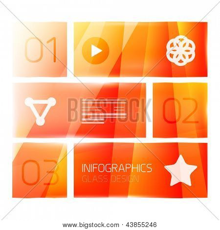 Modern orange glass geometrical infographics. Can be used as numbered banners, background template, block schemes, web layout