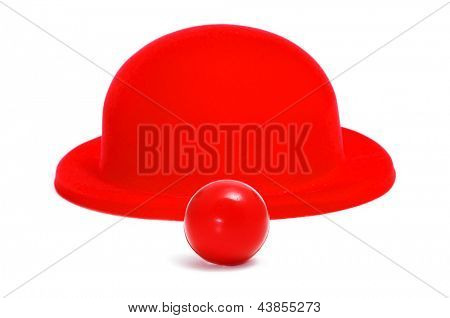 red clown nose and red bowler hat