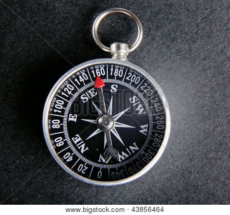 compass close-up isolated on grey background