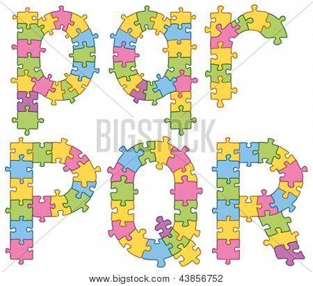 Conjunto de vectores de puzzle jigsaw Letras. Todos los rompecabezas tiene contorno editable, por lo que fácilmente puede chang