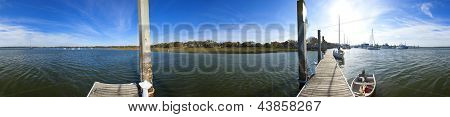 seamless 360 degree panorama of coastline of south carolina