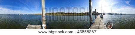 seamless 360 degree panorama of coastline of south carolina