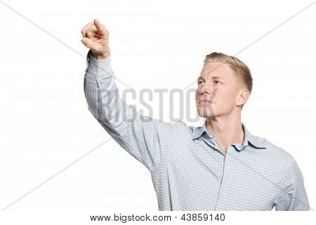 Portrait of friendly businessman drawing with finger in the air, empty space for text or symbol, isolated on white background.