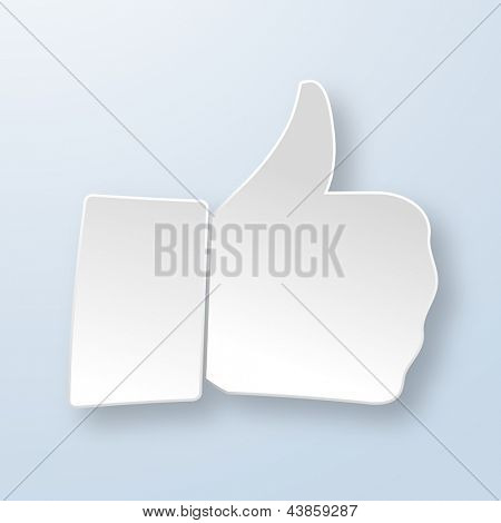 Thumbs up paper sign on light blue background. Like symbol used in a social networks. Vector eps10 illustration