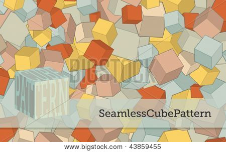 Seamless Cube Pattern - Pastel-colored cubes repeat pattern, for backgrounds or as an element for complex design projects