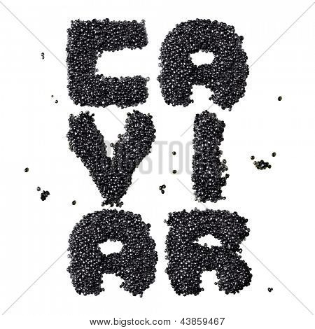 Word made from black caviar