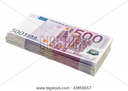many five hundred euro banknotes. symbolic photo for wealth and investment