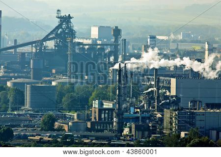 smoking chimneys in the metal industry. business park