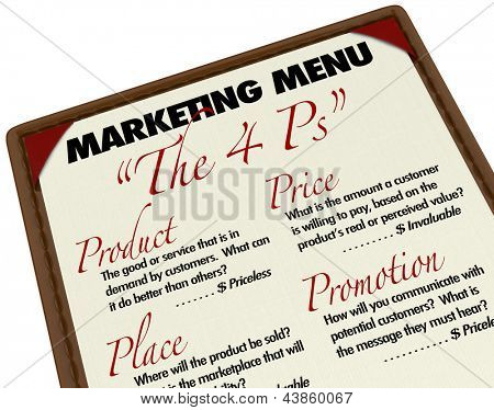 The Marketing 4 Ps -- Product, Price, Place and Promotion -- which are essential for the success of any company, business or store to sell its goods and services to customers