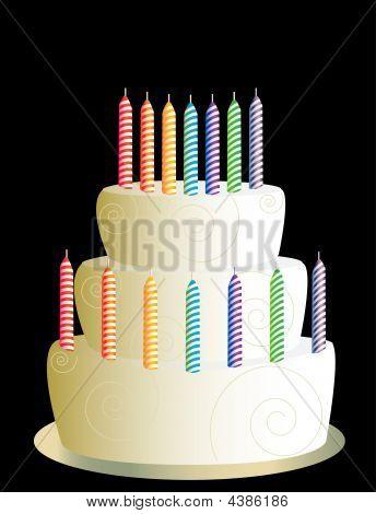 White Three Layer Birthday Cake