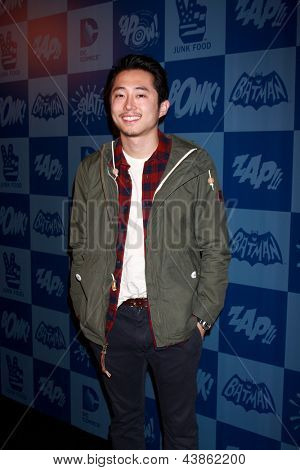 LOS ANGELES - MAR 21:  Steven Yeun arrive at the Batman Product Line Launch at the Meltdown Comics on March 21, 2013 in Los Angeles, CA
