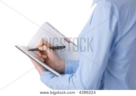 Businesswoman Hands Write In Notepad