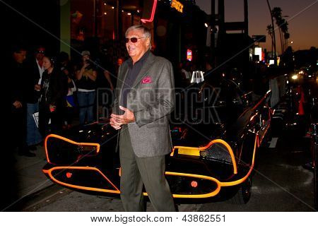 LOS ANGELES - MAR 21:  Adam West poses with the Batmobile at the Batman Product Line Launch at the Meltdown Comics on March 21, 2013 in Los Angeles, CA