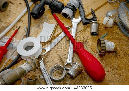 Tools on a messy  table