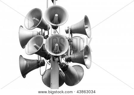 A bunch of loudspeakers