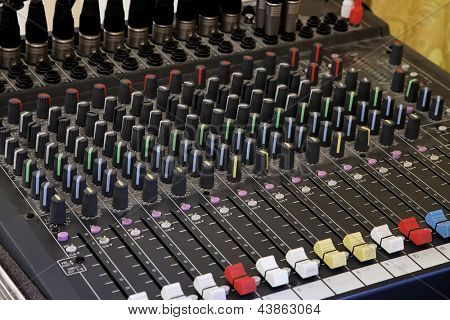 Sound mixer board closeup