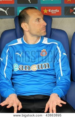 BARCELONA - MARCH, 3: Martin Petrov of Espanyol on the bench before the Spanish League match between Espanyol and Valladolid at the Estadi Cornella on March 3, 2013 in Barcelona, Spain