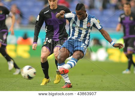 BARCELONA - MARCH, 3: Wakaso Mubarak of Espanyol during the Spanish League match between Espanyol and Valladolid at the Estadi Cornella on March 3, 2013 in Barcelona, Spain