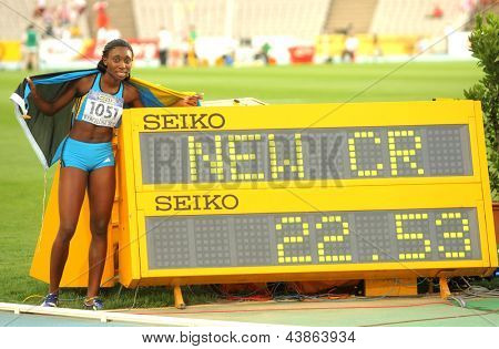 BARCELONA - JULY, 13: Anthonique Strachan of Bahamas celebrating her record during the 20th World Junior Athletics Championships at the Olympic Stadium on July 13, 2012 in Barcelona, Spain