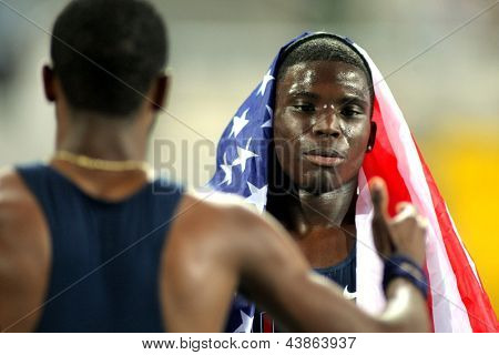 BARCELONA - JULY, 13: Tyreek Hill of USA celebrating his bronze medal in 200m during the 20th World Junior Athletics Championships at the Olympic Stadium on July 13, 2012 in Barcelona, Spain