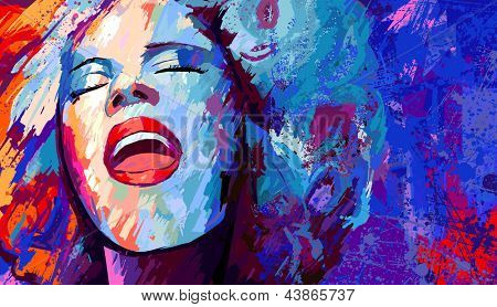 Vector illustration of singer on grunge background