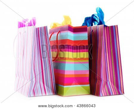 Striped shopping bags isolated on white