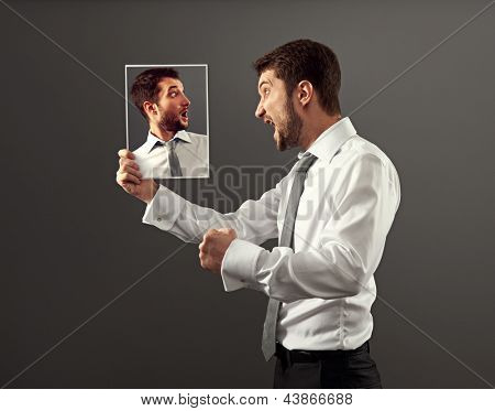 young man have a conflict with himself