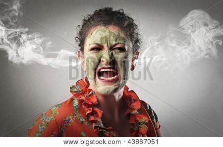 furious woman screaming with smoke coming out of her ears