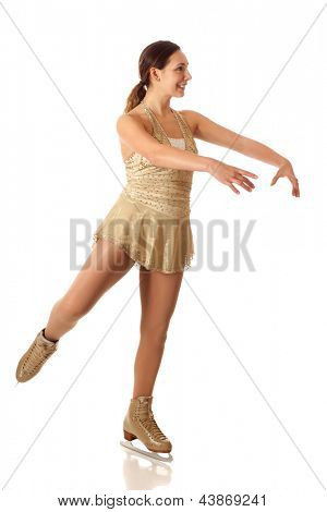 Young adult figure skater. Studio shot over white.
