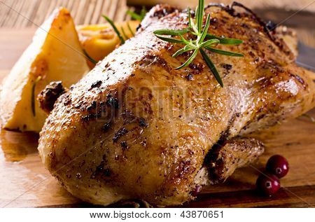 roasted duck on the board