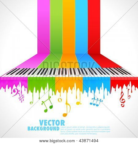 illustration of piano key on rainbow color paint