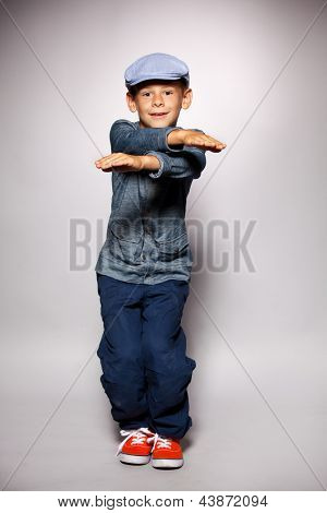 Dancing boy. Fashion mod child
