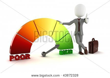 3d man businessman standing near a poor-rich graph indicator, on white background