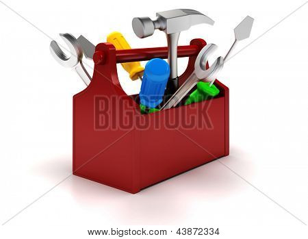 3d Working tools on white background