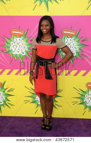 LOS ANGELES - MAR 23:  Gabby Douglas arrives at Nickelodeon's 26th Annual Kids' Choice Awards at the USC Galen Center on March 23, 2013 in Los Angeles, CA