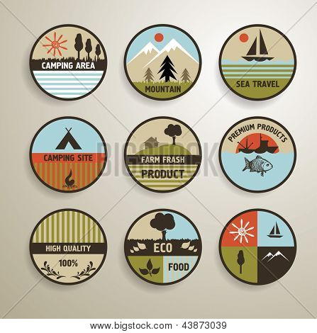 Camping and nature vector labels set.