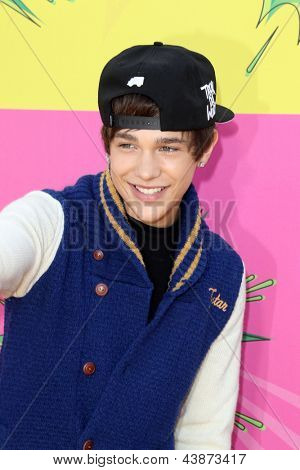 LOS ANGELES - MAR 23:  Austin Mahone arrives at Nickelodeon's 26th Annual Kids' Choice Awards at the USC Galen Center on March 23, 2013 in Los Angeles, CA
